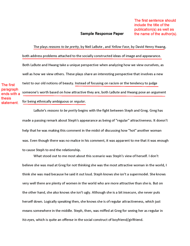 how to write a response paper the first paragraph