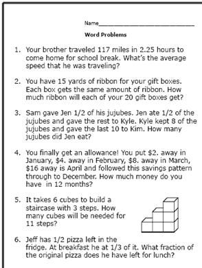 6th grade math word problems for How to find a good builder in your area