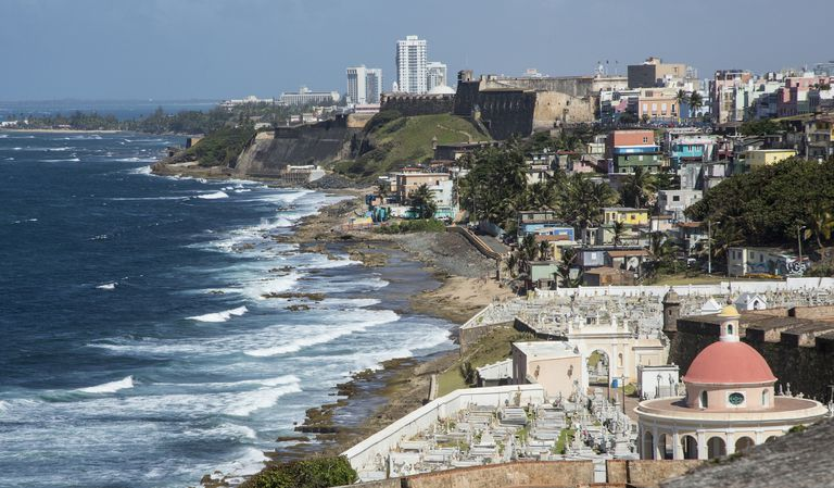 Aerial view of Old San Juan cityscape and beach, Puerto Rico, United States