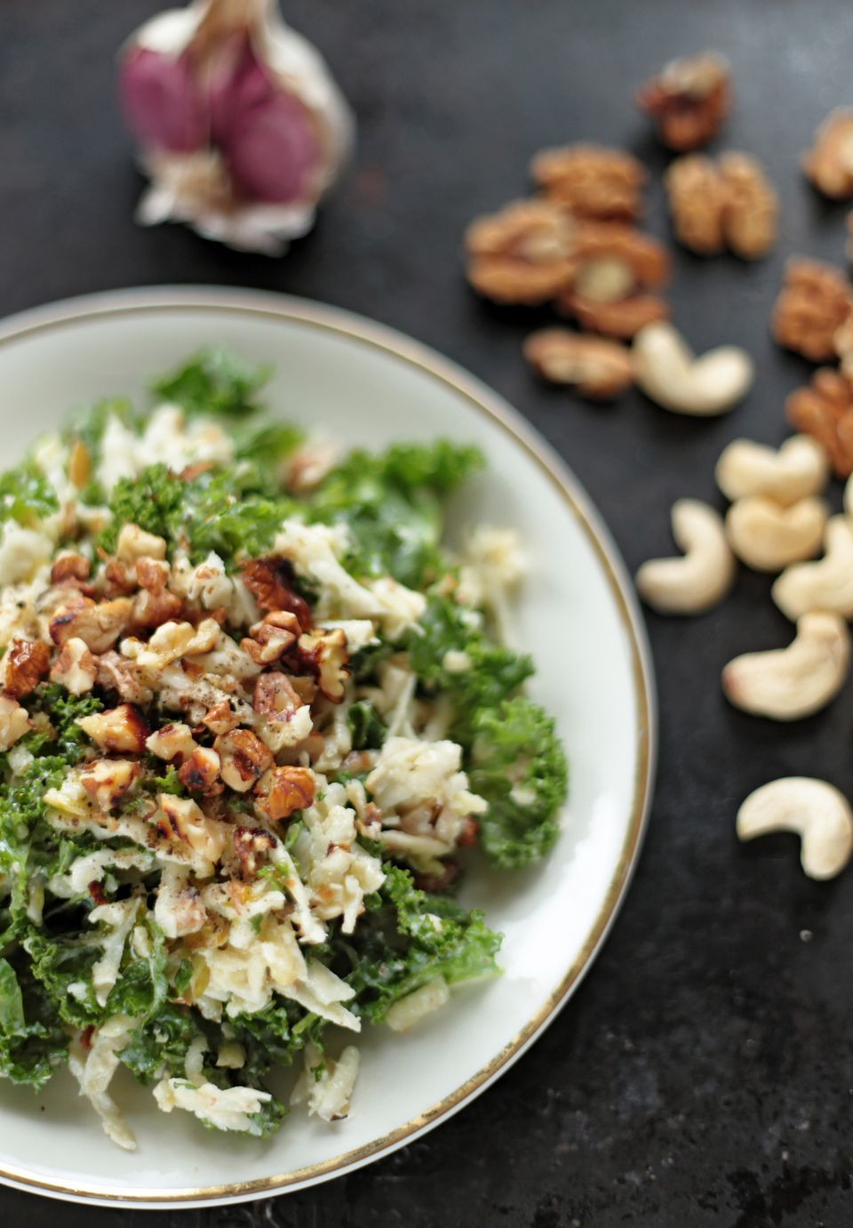 Waldorf salad on kale