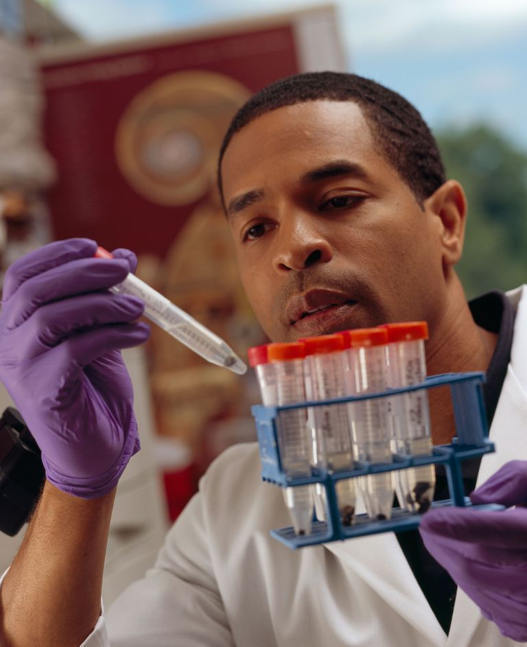 male doctor doing research in a lab