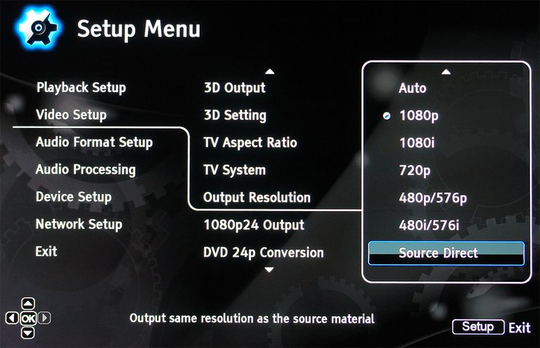 Blu-ray Disc Player Resolution Output Settings Example