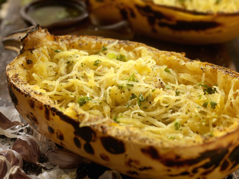 Roasted Spaghetti Squash with Garlic Herb Butter