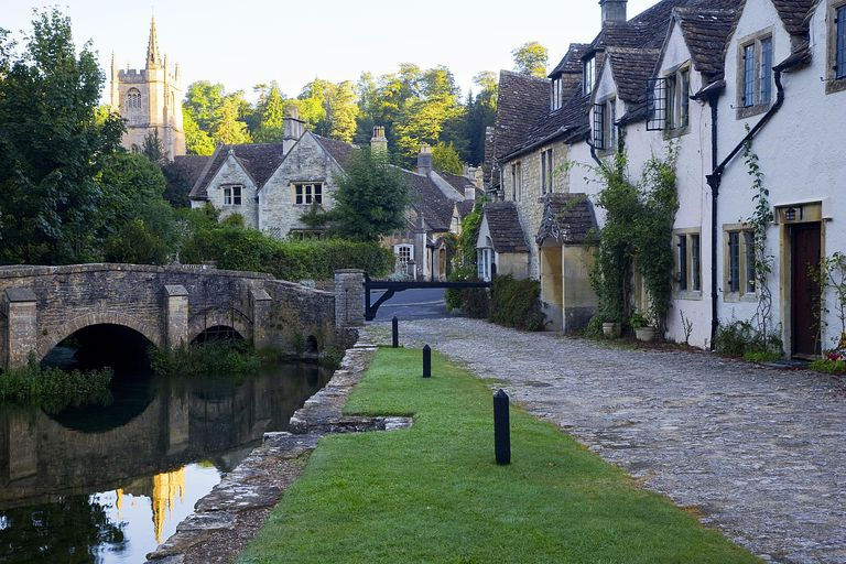 An old riverside village in Wiltshire, England