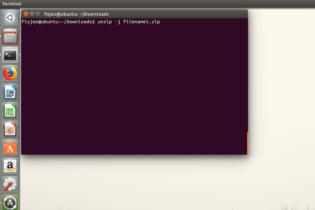 Screenshot showing how to use the -j switch with the unzip command in Ubuntu