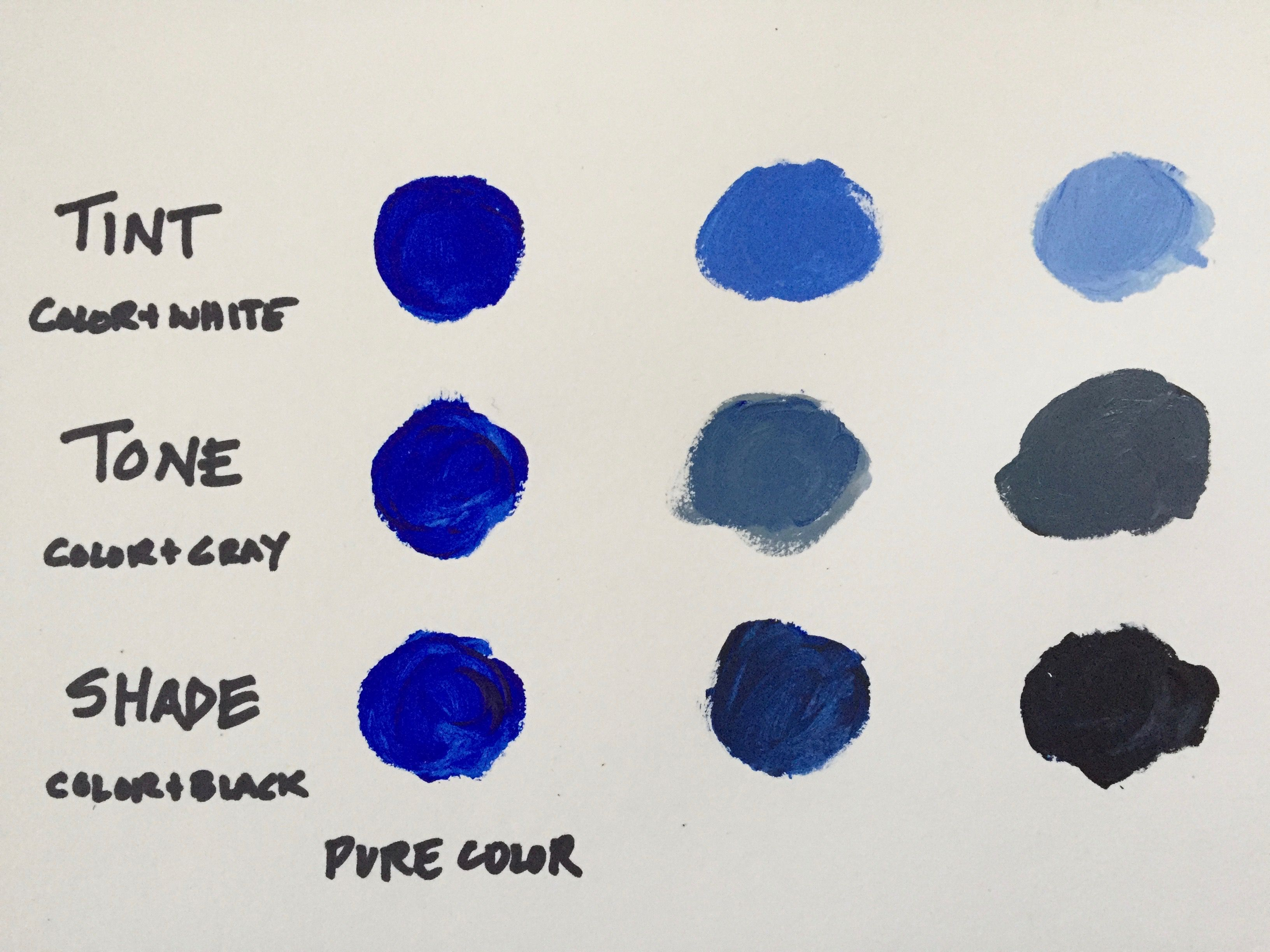 Diagram showing tint, tone, and shade with ultramarine blue acrylic paint