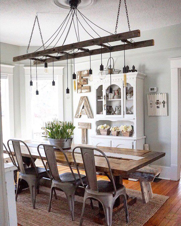 Decorative wooden ladders for a light fixture