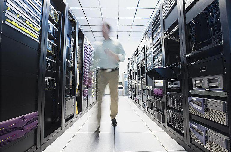 Man working in data center