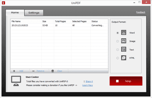 Screenshot of the UniPDF Free PDF Converter