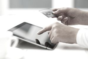 Viewing credit card information on a tablet