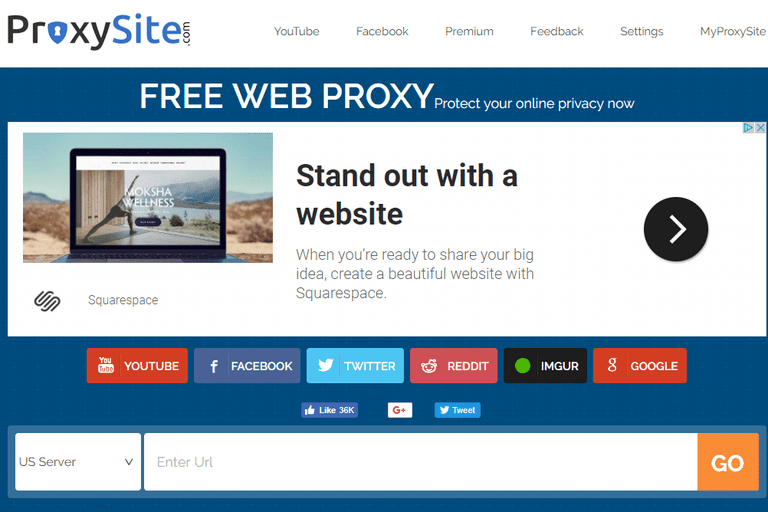 Screenshot of the ProxySite.com free anonymous web proxy website