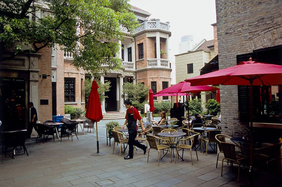 Secluded patio at the café and private club in the Xintiandi area, Shanghai