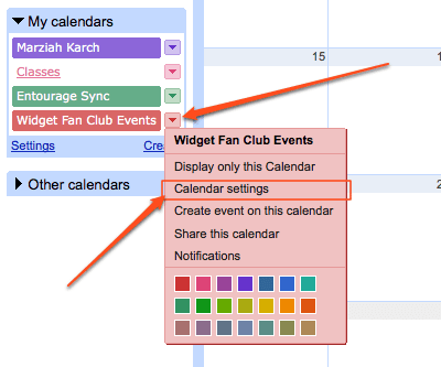 Google Calendar - Click on Calendar Settings