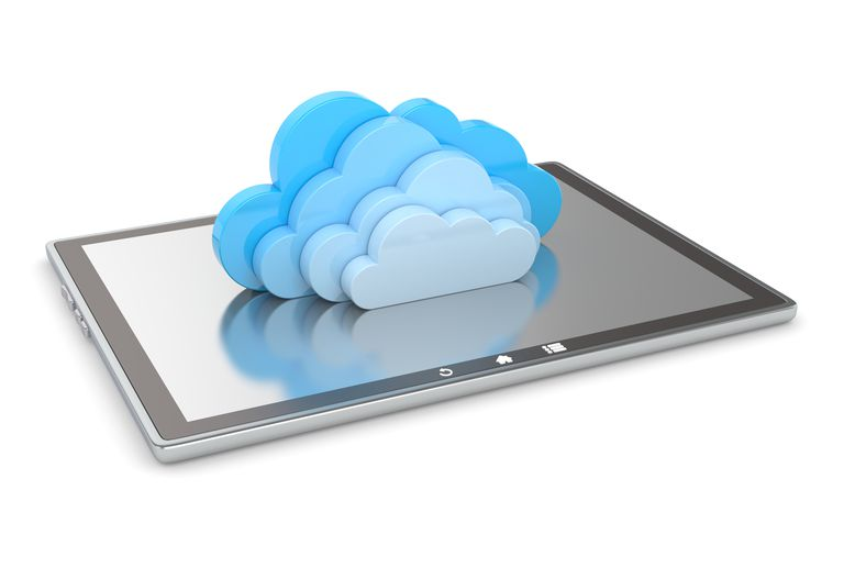 Digital tablet with clouds
