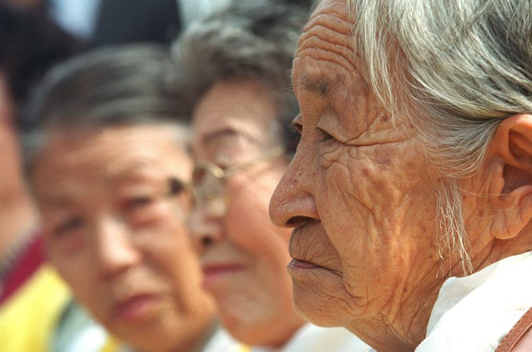 Moon Pil-Ki (R) and South Korean Women in Comfort Women Protest, 2002