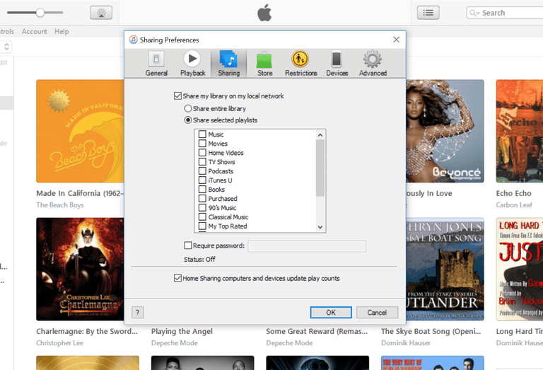 iTunes sharing, step 2