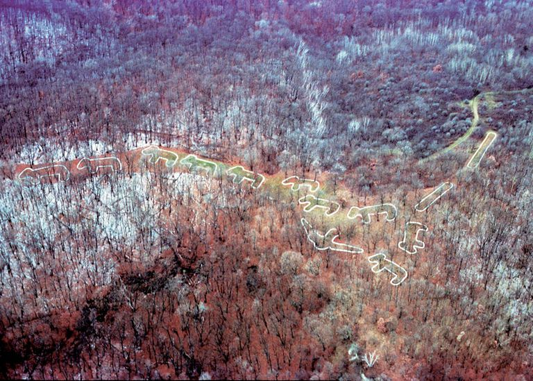 Aerial photo of the Marching Bear burial grounds at Effigy Mounds National Monument