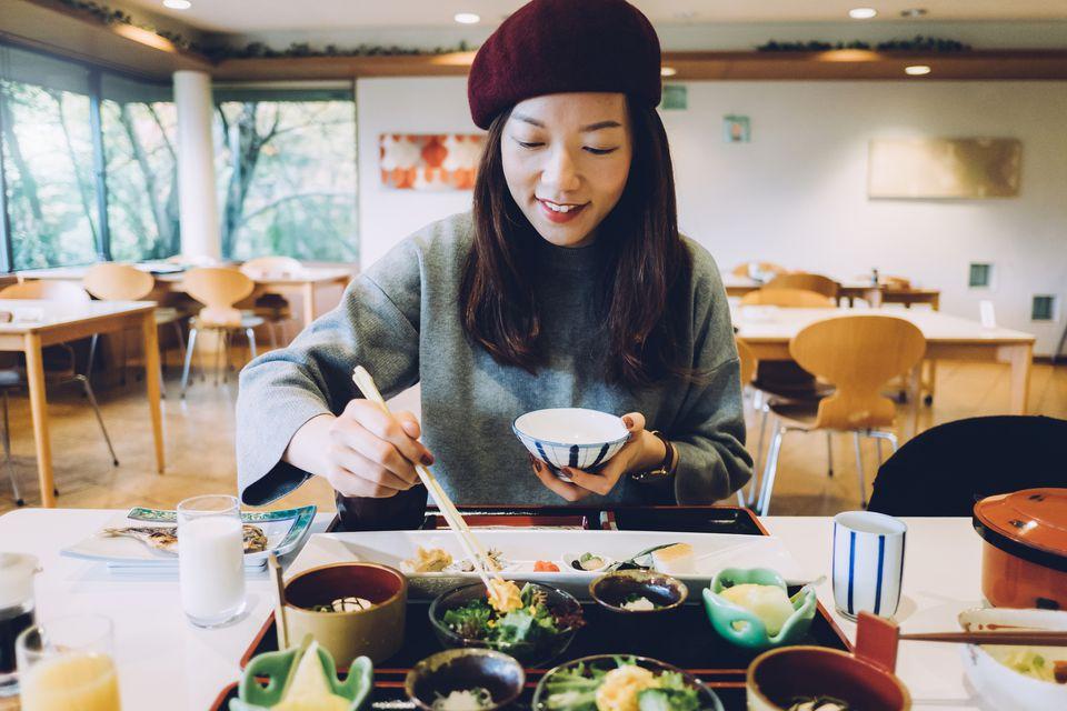 Woman in japanese restaurant