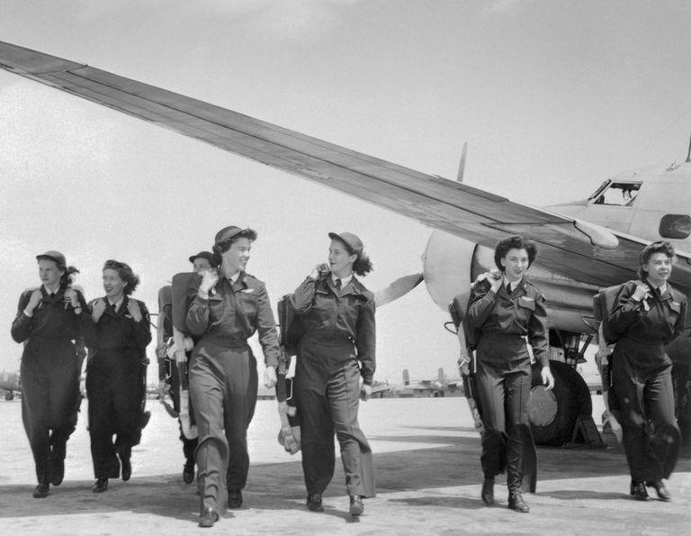Group of Women's Air Service Pilots Walking