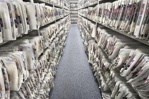 aisle between files stored on shelves