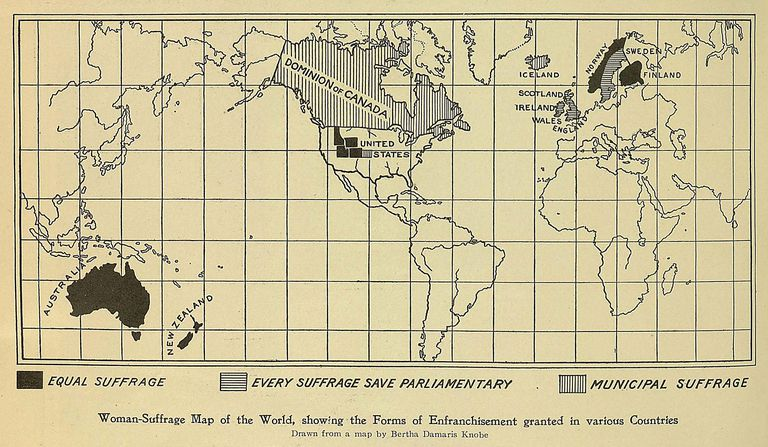 World Woman Suffrage Map 1908