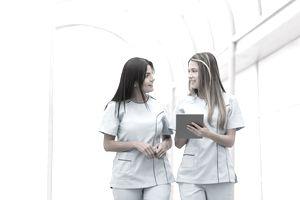 Nurses talking at the hospital