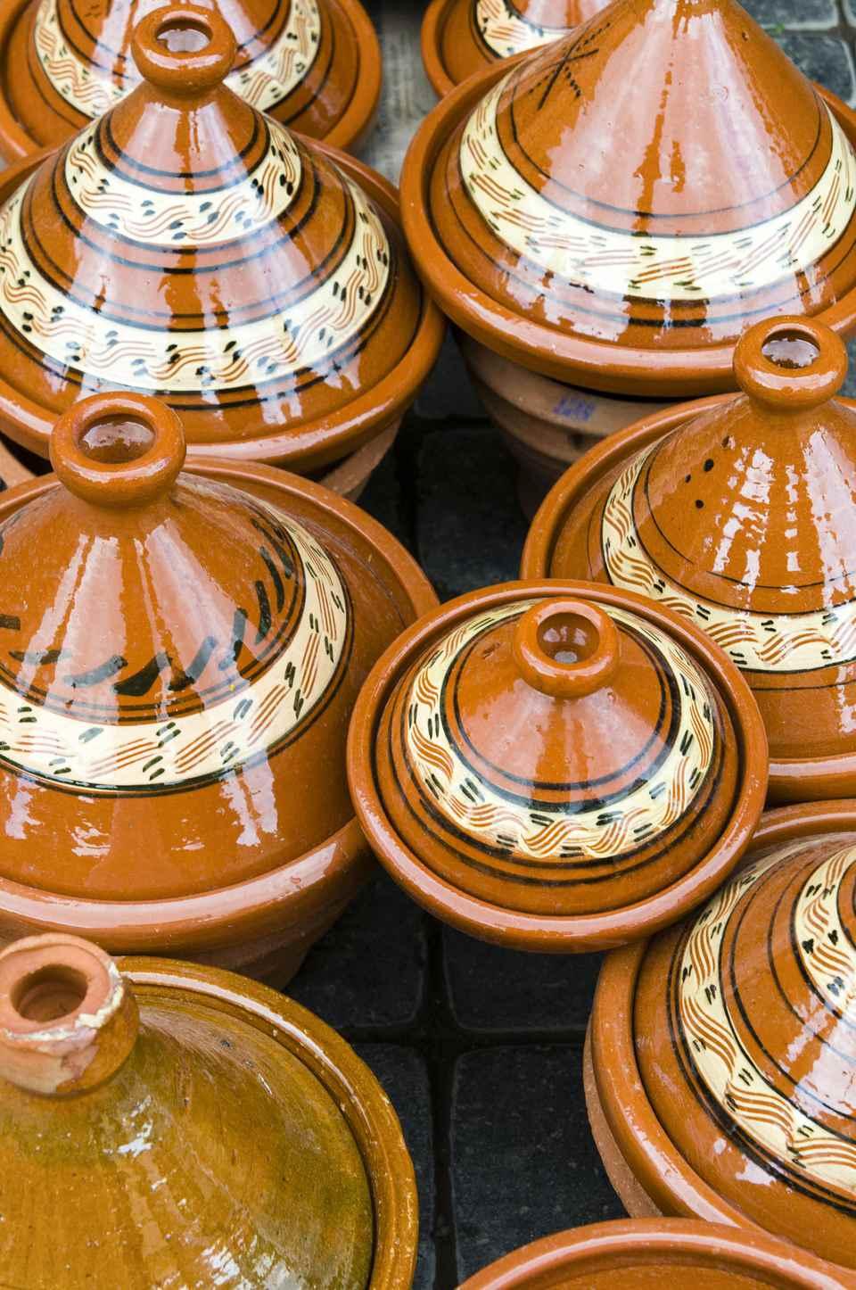 Pottery for Tajine for sale in souk, Marrakech, Morocco
