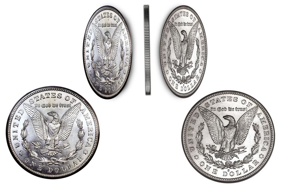 an example a two tailed Morgan silver dollar