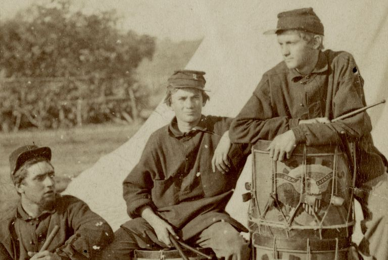 Photograph of Civil War drummers of a Rhode Island regiment