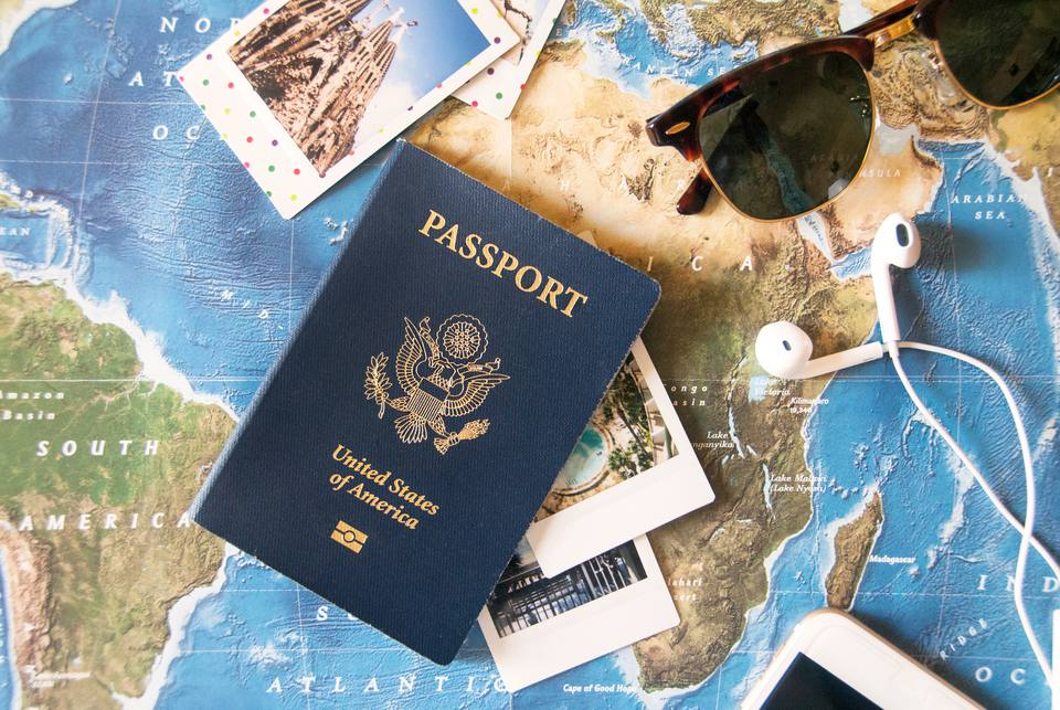 United States passport on map