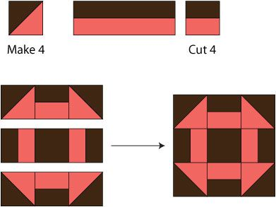Monkey Wrench Quilt Block Pattern