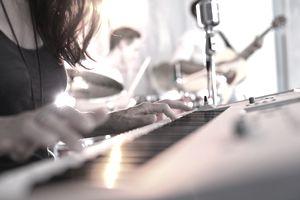 Recording music in recording studio