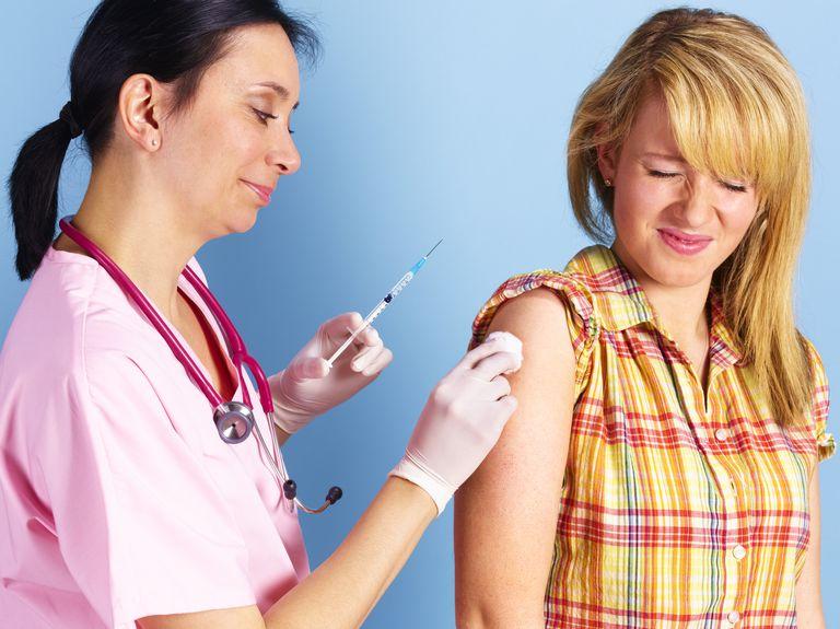 Patient receiving allergy, vacation vaccination.