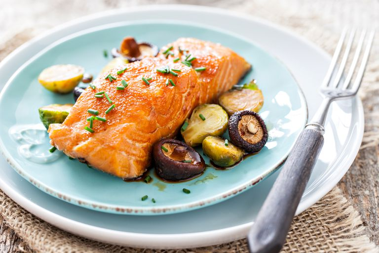 salmon on blue plate