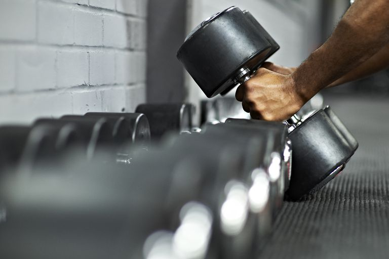 Dumbbells in a gym.
