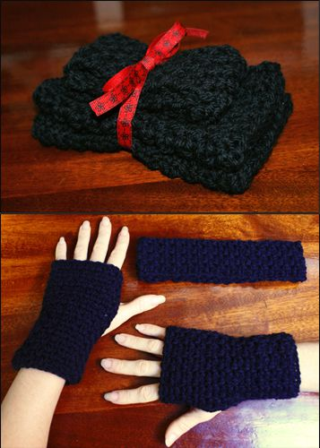 Simple Crocheted Headband and Fingerless Gloves