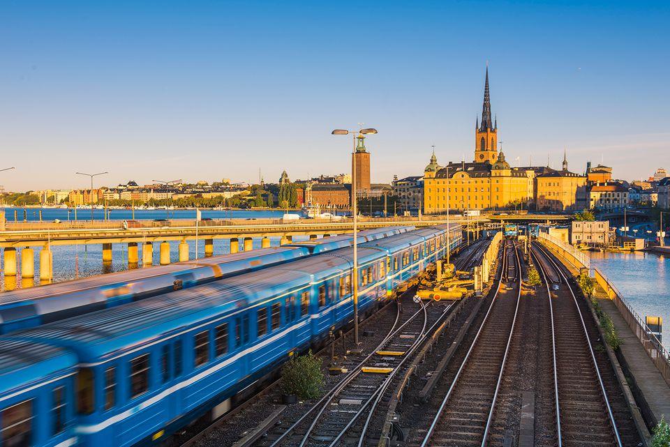 Sweden, Stockholm, T-Bana central station with Reidarholmen and Riddarholmskyrkan church in background