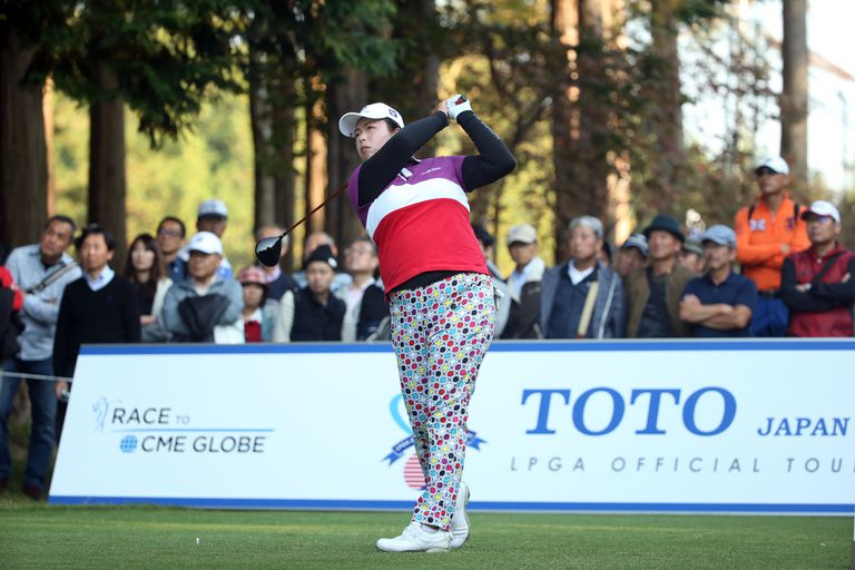 Shanshan Feng hits her tee shot on the 18th hole during the second round of the TOTO Japan Classic 2016 at the Taiheiyo Club Minori Course