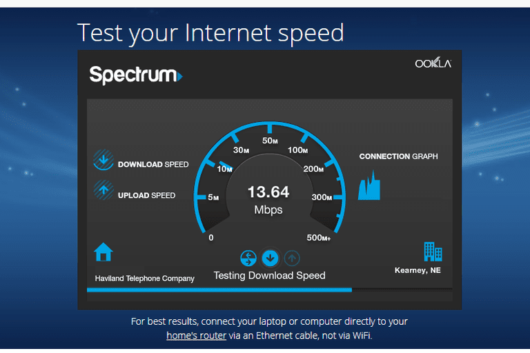 Screenshot of the Spectrum/Charter internet speed test