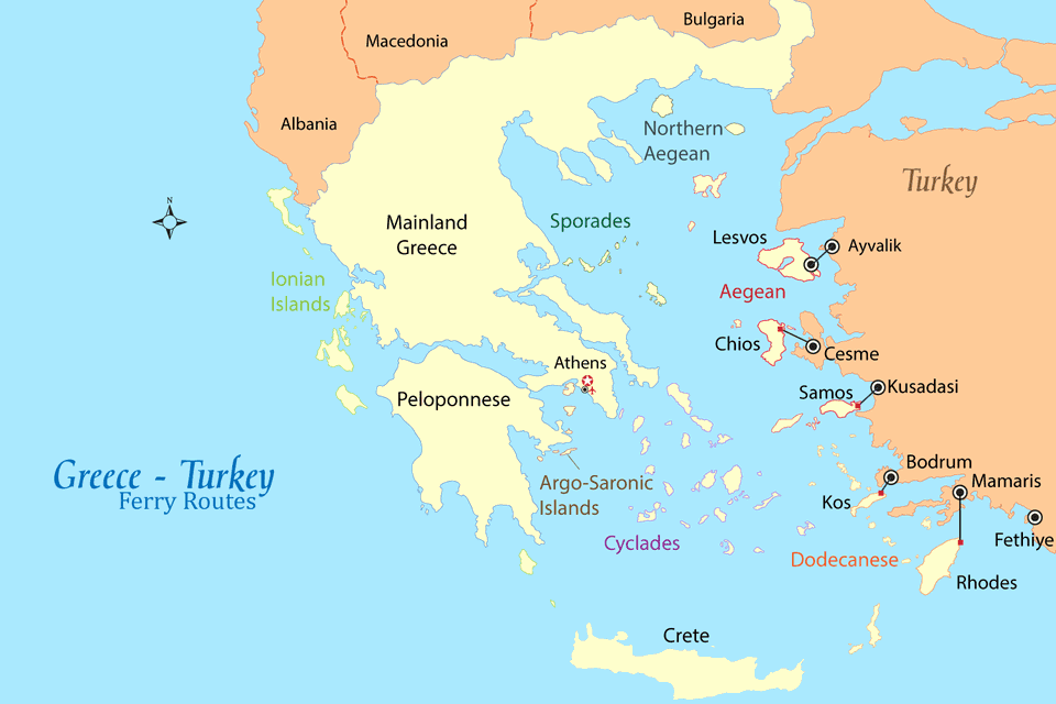 Greece  Turkey Ferry Map and Guide