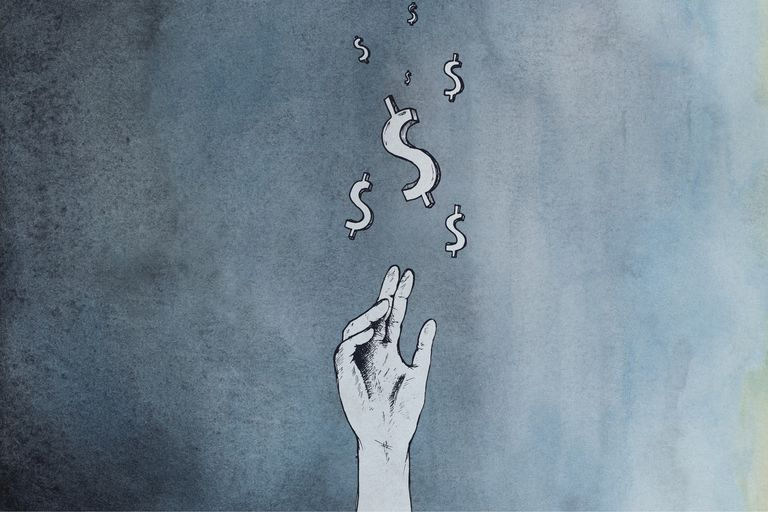 Human hand reaching for money