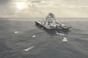 Money floating on raft.