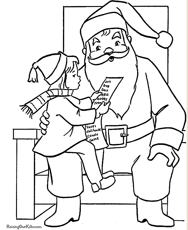 Picture Of A Santa Coloring Page With Girl On Santas Lap