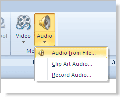 Insert a sound or music file into your PowerPoint 2010 presentation using the Audio button