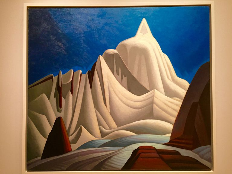 painting of rocky mountains in snow by Lawren Harris
