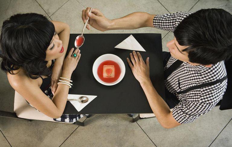 Couple Sharring a Dessert.