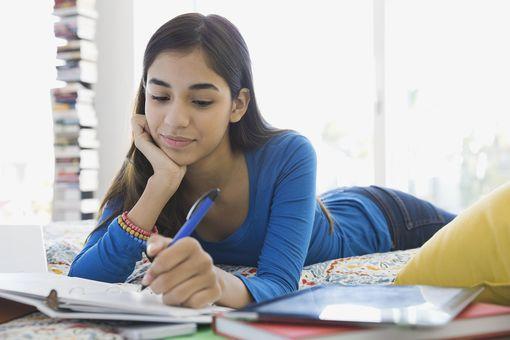 Girl writing dialogue
