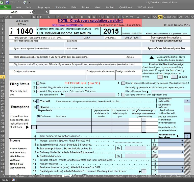 Screen shot of Excel1040, a downloadable spreadsheet created by Glenn Reeves.