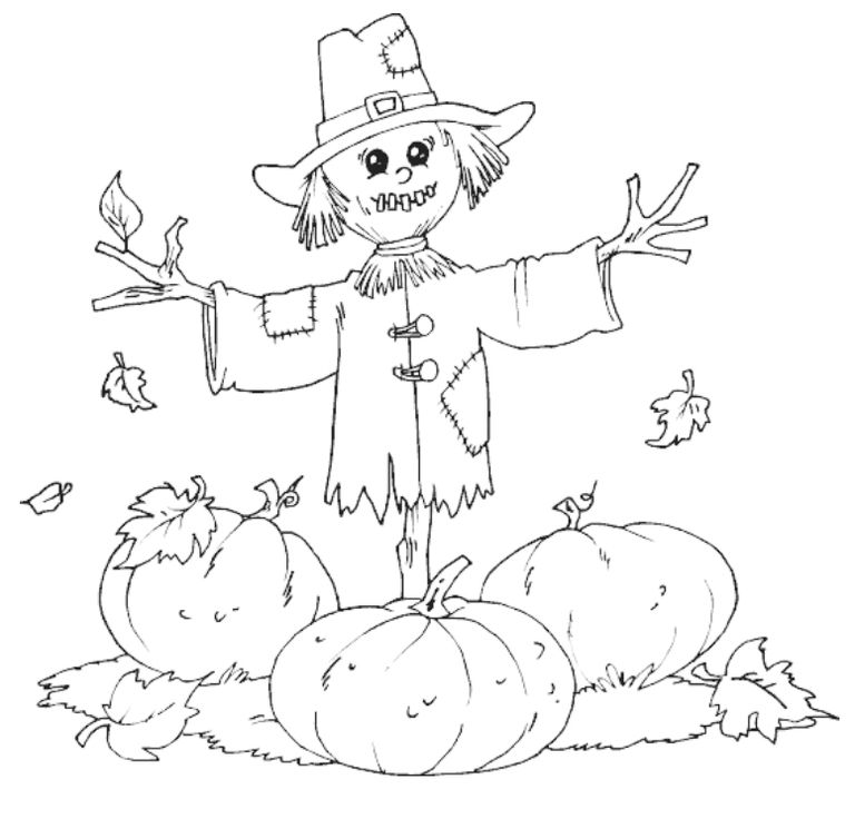 a scarecrow in a pumpkin patch - Coloring Pictures Thanksgiving