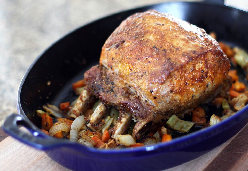 Pork Rib Roast With Spice Rub and Aromatic Vegetables